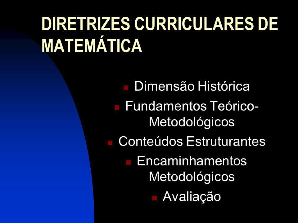 DIRETRIZES CURRICULARES DE MATEMÁTICA Dimensão Histórica Fundamentos Teórico- Metodológicos Conteúdos Estruturantes Encaminhamentos Metodológicos Aval
