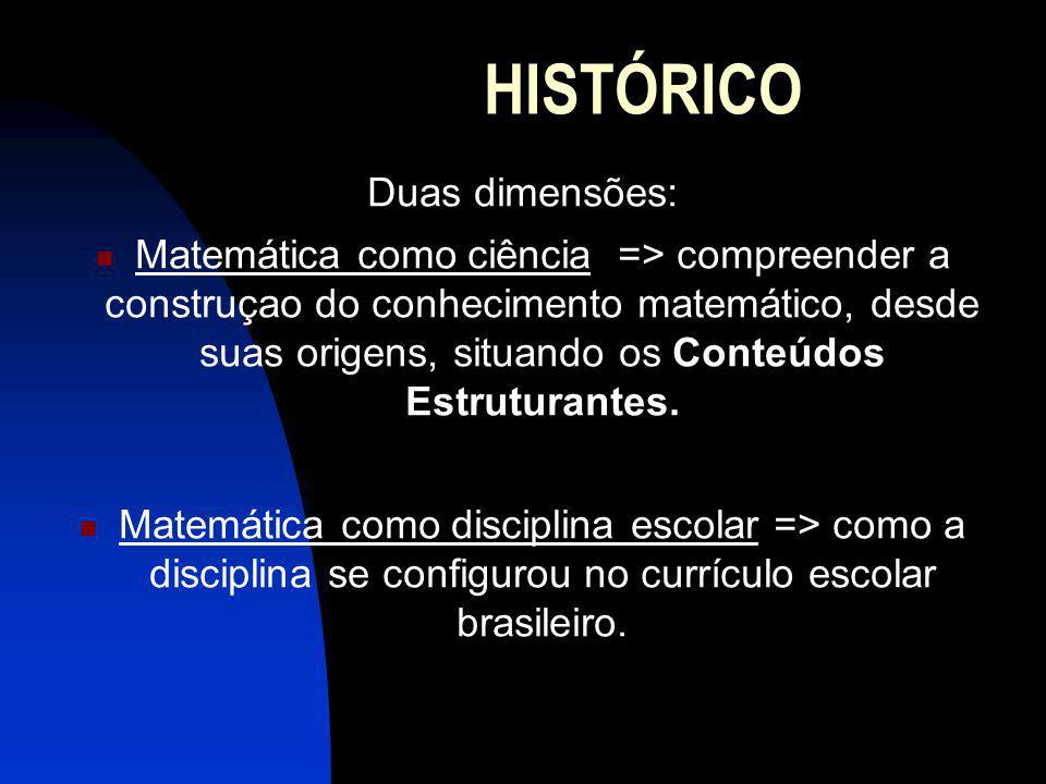 HISTÓRICO Duas dimensões: Matemática como ciência => compreender a construçao do conhecimento matemático, desde suas origens, situando os Conteúdos Estruturantes.