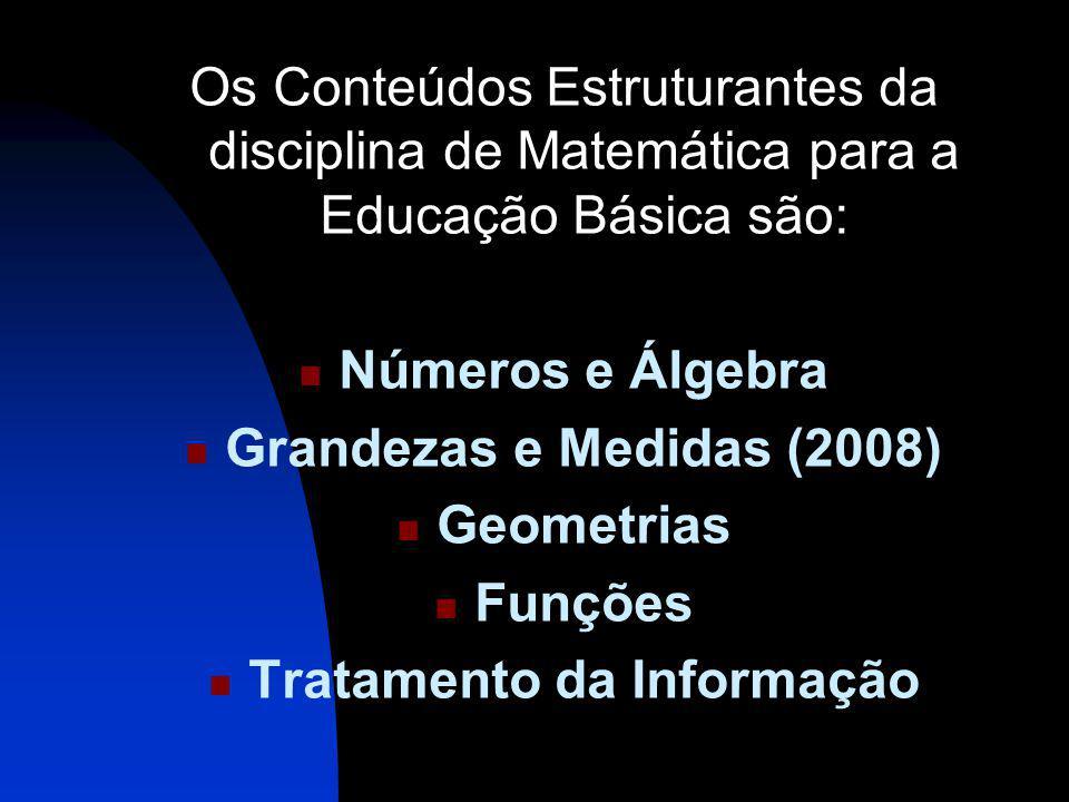 Os Conteúdos Estruturantes da disciplina de Matemática para a Educação Básica são: Números e Álgebra Grandezas e Medidas (2008) Geometrias Funções Tratamento da Informação