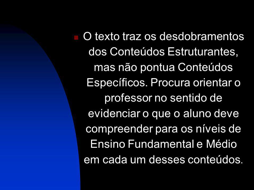 O texto traz os desdobramentos dos Conteúdos Estruturantes, mas não pontua Conteúdos Específicos.