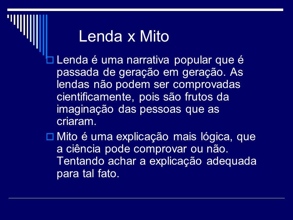 Lenda x Mito Lenda é uma narrativa popular que é passada de geração em geração.