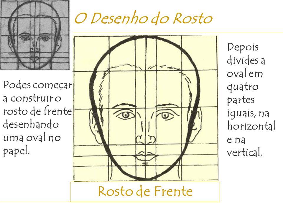 Rosto de Frente O Desenho do Rosto Podes começar a construir o rosto de frente desenhando uma oval no papel. Depois divides a oval em quatro partes ig