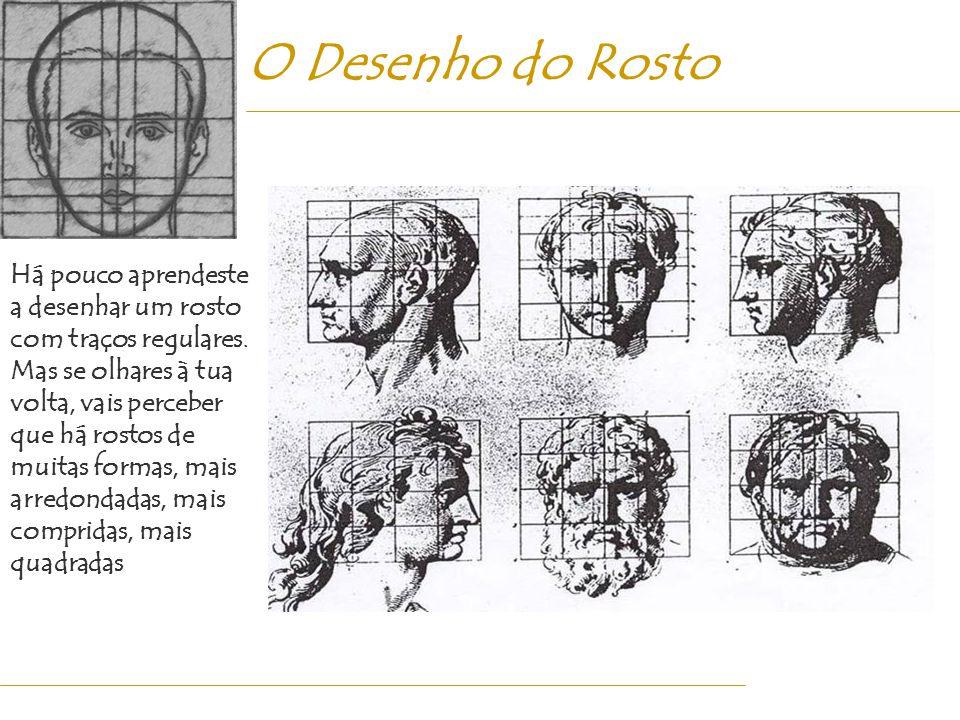 O Desenho do Rosto Há pouco aprendeste a desenhar um rosto com traços regulares. Mas se olhares à tua volta, vais perceber que há rostos de muitas for