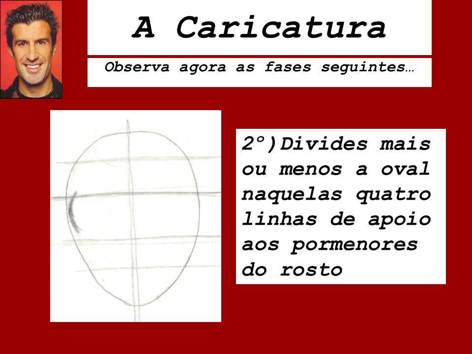 A Caricatura Observa agora as fases seguintes… 2º)Divides mais ou menos a oval naquelas quatro linhas de apoio aos pormenores do rosto