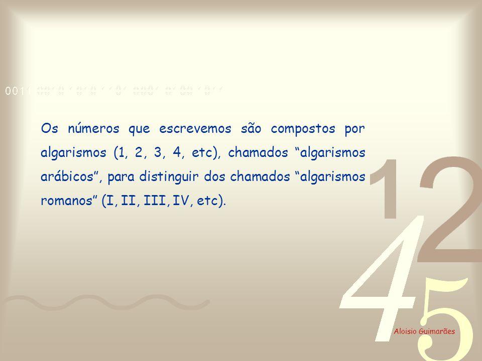 Os números que escrevemos são compostos por algarismos (1, 2, 3, 4, etc), chamados algarismos arábicos, para distinguir dos chamados algarismos romano