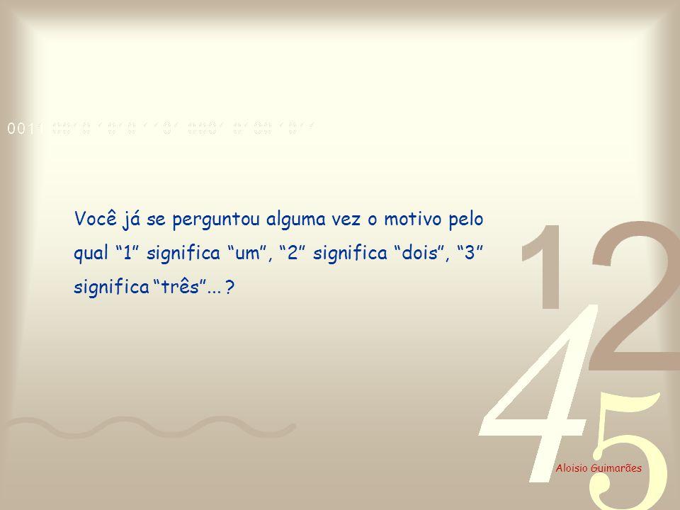 Aloisio Guimarães Você já se perguntou alguma vez o motivo pelo qual 1 significa um, 2 significa dois, 3 significa três... ?