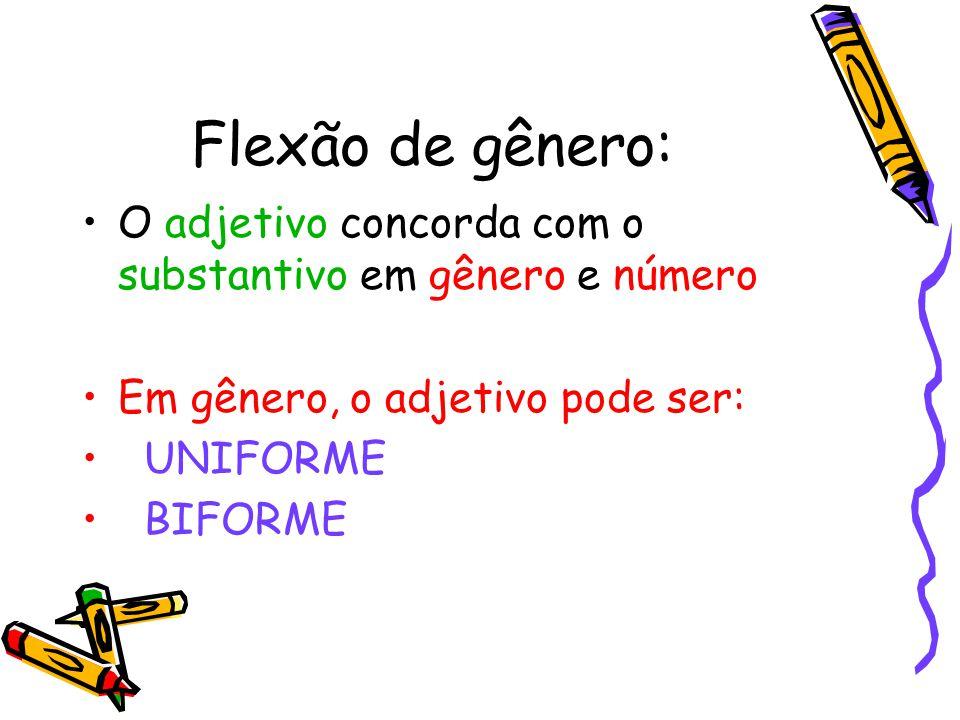 Flexão de gênero: O adjetivo concorda com o substantivo em gênero e número Em gênero, o adjetivo pode ser: UNIFORME BIFORME