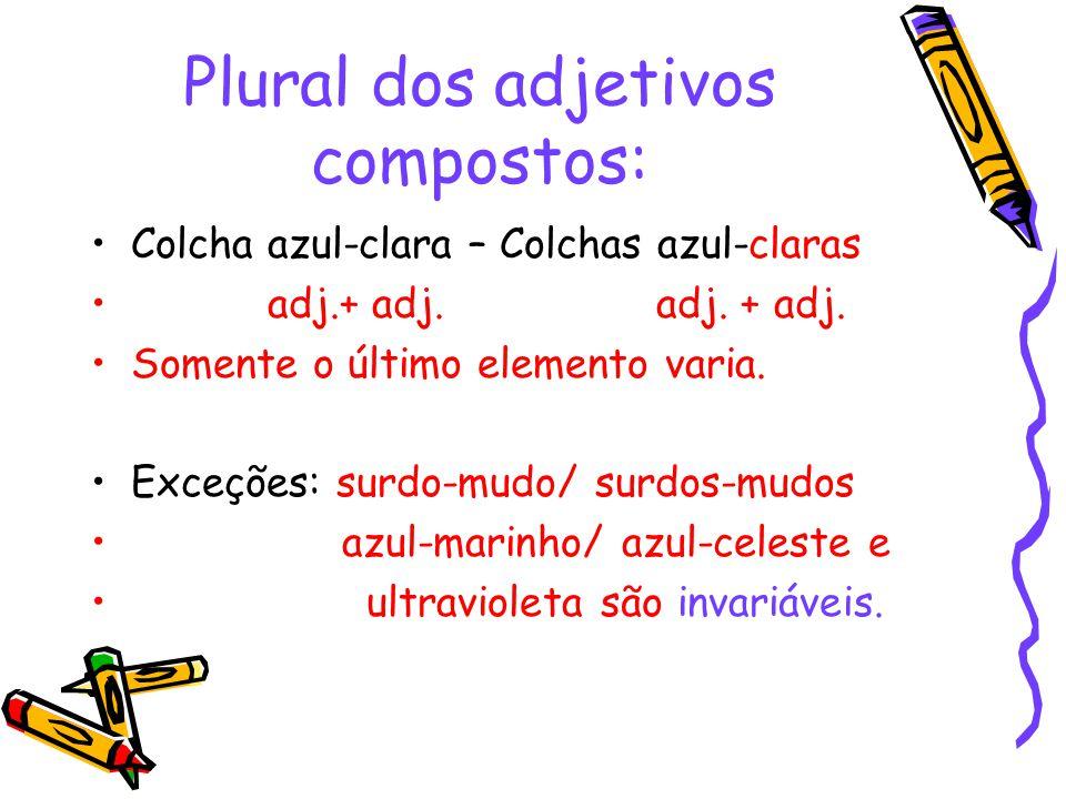 Plural dos adjetivos compostos: Colcha azul-clara – Colchas azul-claras adj.+ adj.