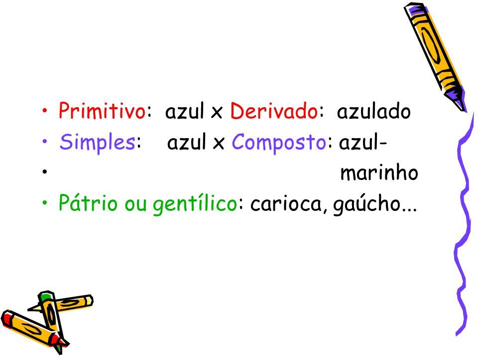 Primitivo: azul x Derivado: azulado Simples: azul x Composto: azul- marinho Pátrio ou gentílico: carioca, gaúcho...