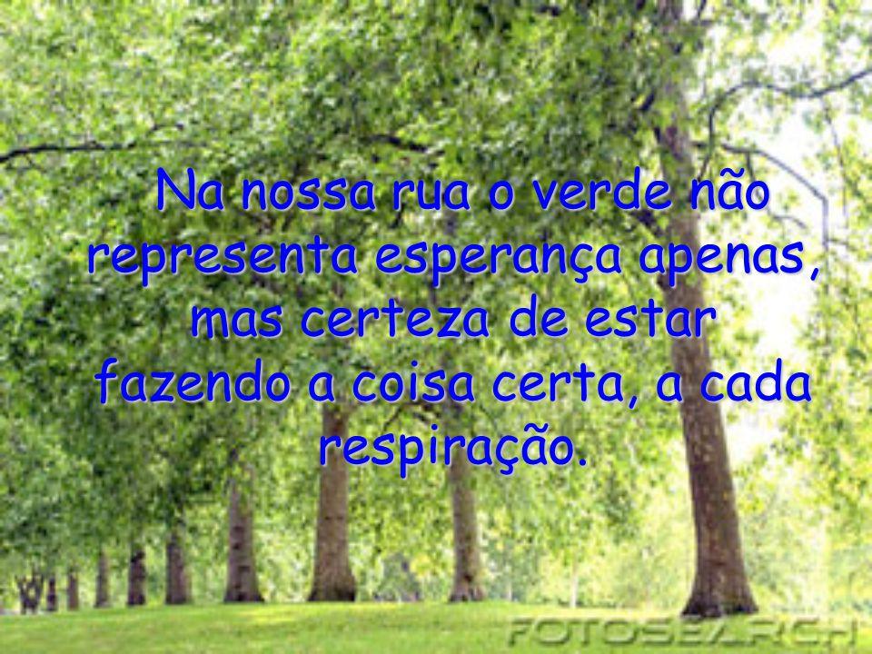 Na nossa rua o verde não representa esperança apenas, mas certeza de estar fazendo a coisa certa, a cada respiração.