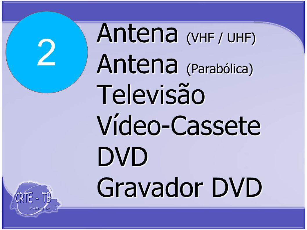 Antena (VHF / UHF) Antena (Parabólica) Televisão Vídeo-Cassete DVD Gravador DVD 2