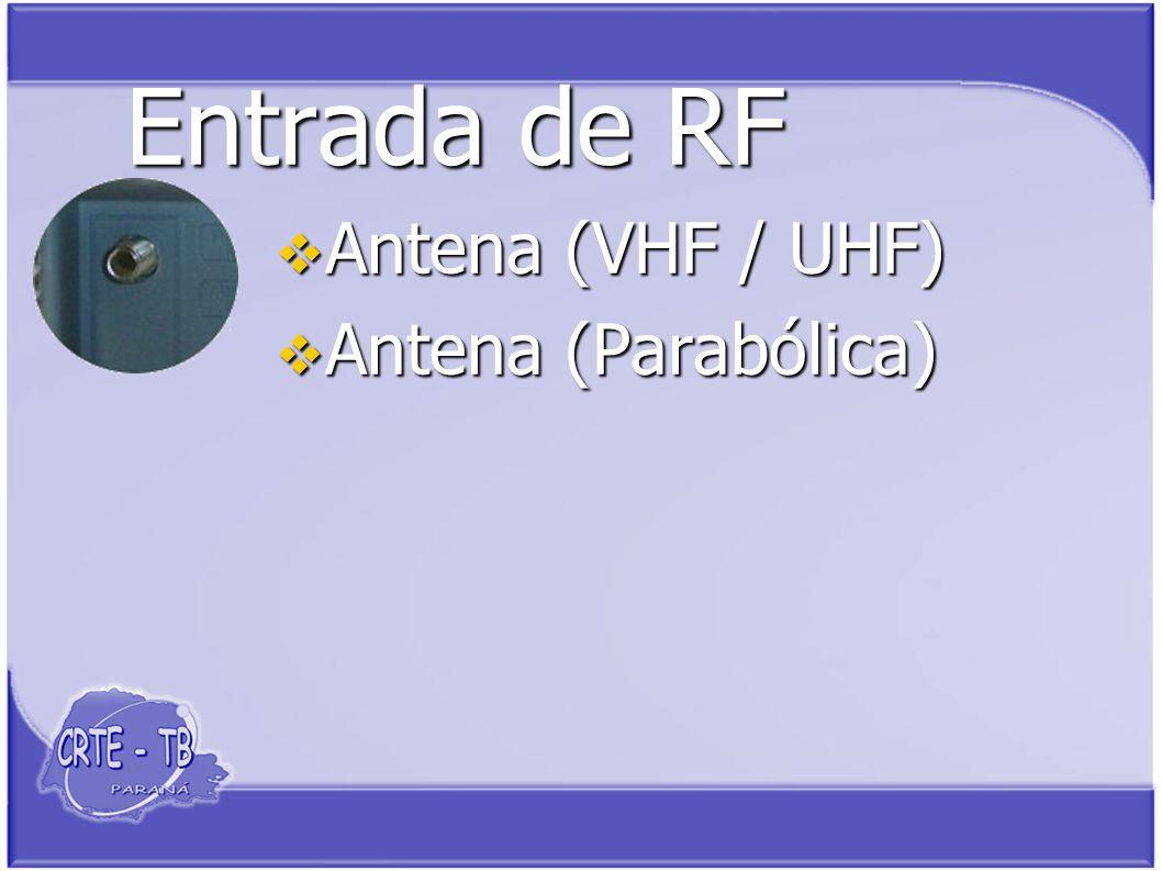 Entrada de RF Antena (VHF / UHF) Antena (VHF / UHF) Antena (Parabólica) Antena (Parabólica)