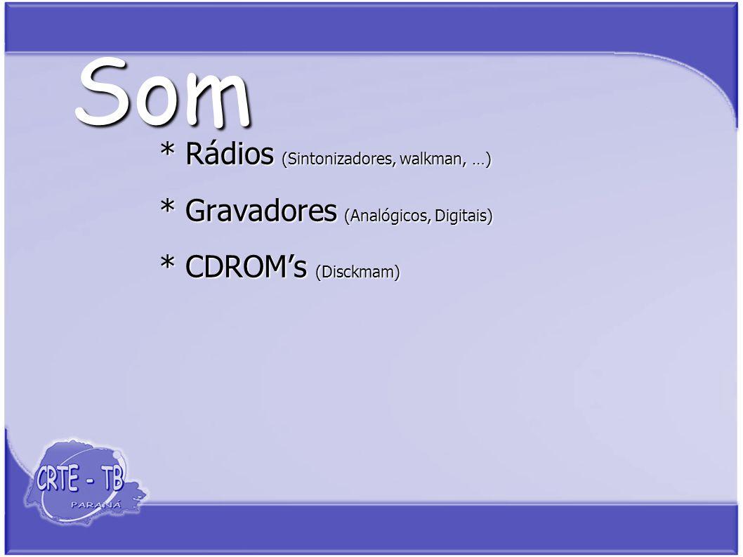 Som * Rádios (Sintonizadores, walkman, …) * Gravadores (Analógicos, Digitais) * CDROMs (Disckmam)