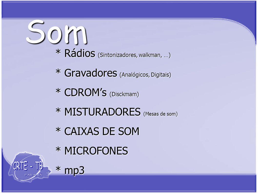 Som * Rádios (Sintonizadores, walkman, …) * Gravadores (Analógicos, Digitais) * CDROMs (Disckmam) * MISTURADORES (Mesas de som) * CAIXAS DE SOM * MICROFONES * mp3