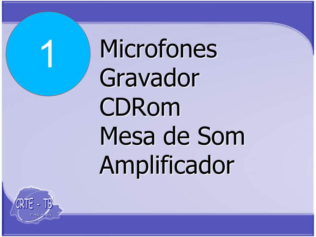 Microfones Gravador CDRom Mesa de Som Amplificador 1