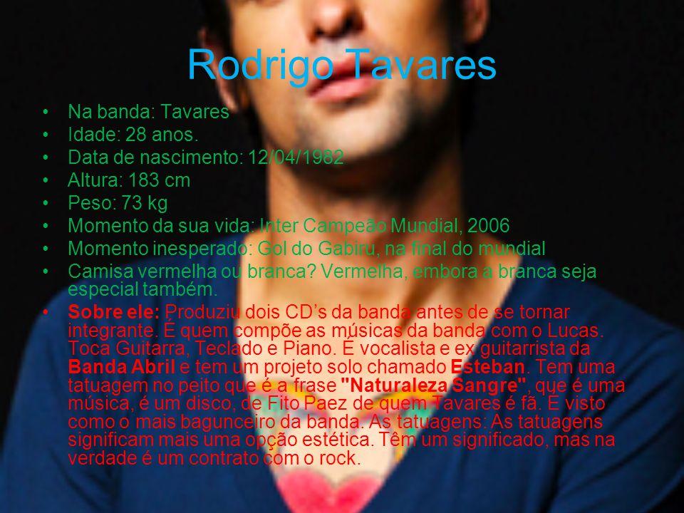 Rodrigo Tavares Na banda: Tavares Idade: 28 anos. Data de nascimento: 12/04/1982 Altura: 183 cm Peso: 73 kg Momento da sua vida: Inter Campeão Mundial