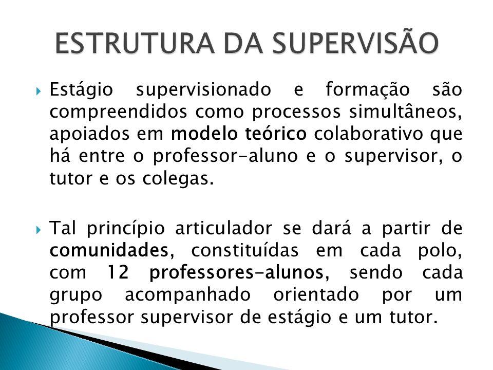 Estágio supervisionado e formação são compreendidos como processos simultâneos, apoiados em modelo teórico colaborativo que há entre o professor-aluno e o supervisor, o tutor e os colegas.
