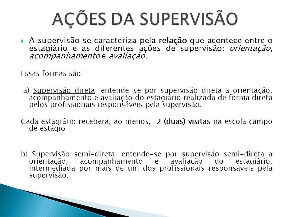 A supervisão se caracteriza pela relação que acontece entre o estagiário e as diferentes ações de supervisão: orientação, acompanhamento e avaliação.