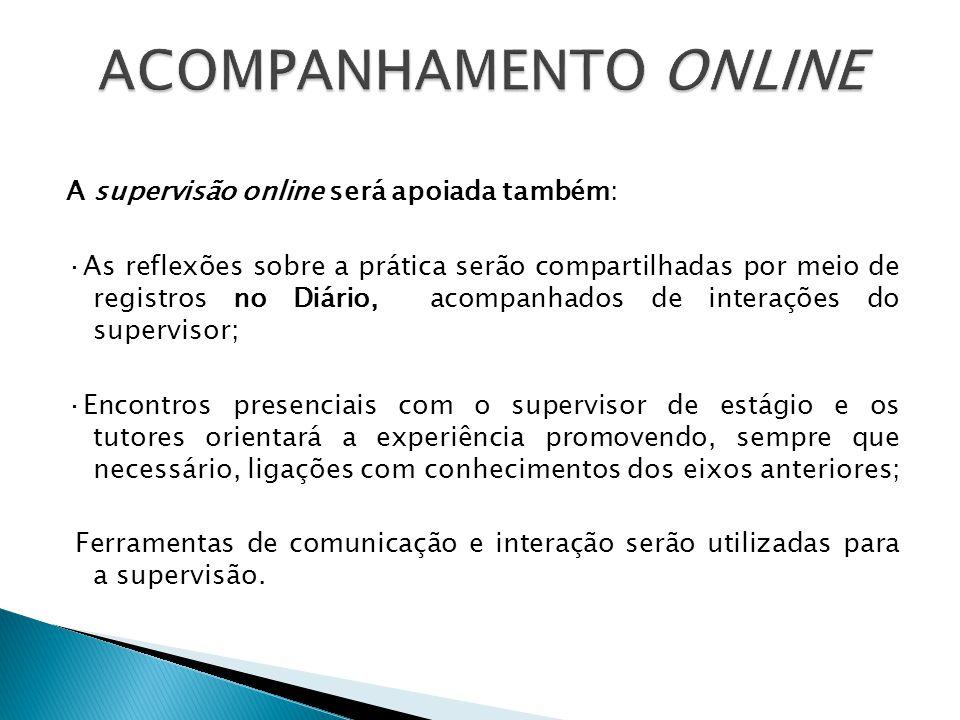 A supervisão online será apoiada também: ·As reflexões sobre a prática serão compartilhadas por meio de registros no Diário, acompanhados de interaçõe