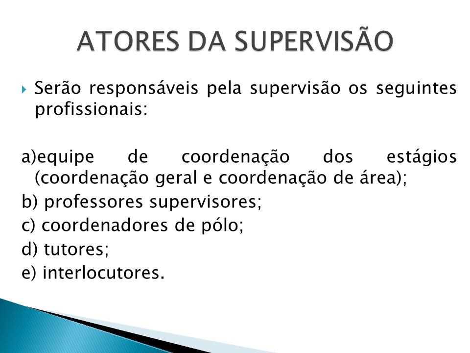 Serão responsáveis pela supervisão os seguintes profissionais: a)equipe de coordenação dos estágios (coordenação geral e coordenação de área); b) professores supervisores; c) coordenadores de pólo; d) tutores; e) interlocutores.