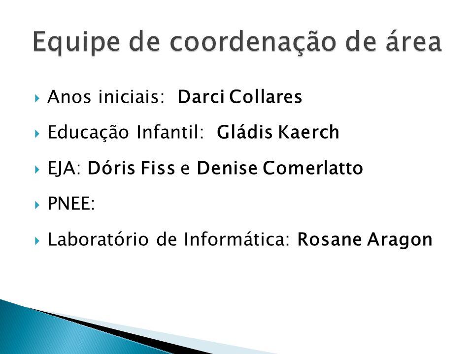 Anos iniciais: Darci Collares Educação Infantil: Gládis Kaerch EJA: Dóris Fiss e Denise Comerlatto PNEE: Laboratório de Informática: Rosane Aragon