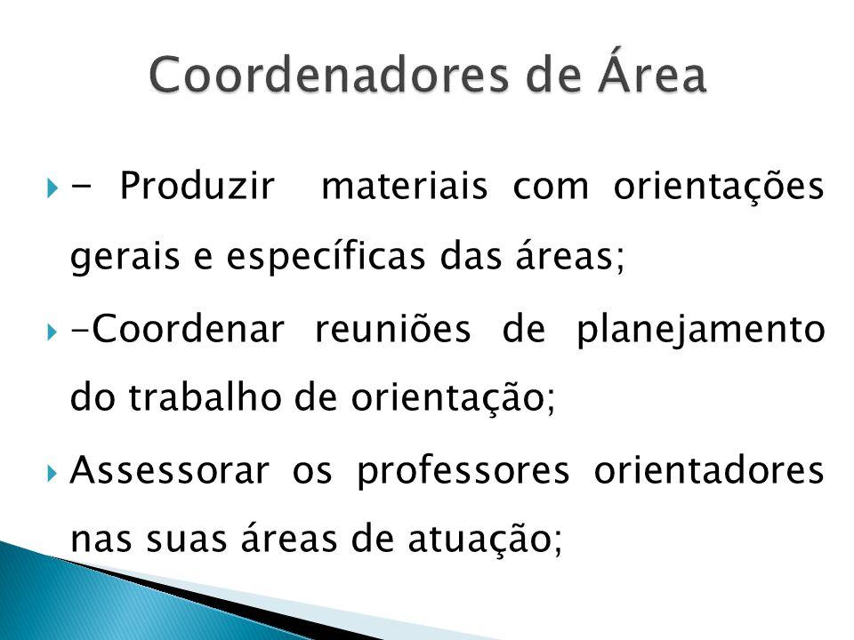- Produzir materiais com orientações gerais e específicas das áreas; -Coordenar reuniões de planejamento do trabalho de orientação; Assessorar os professores orientadores nas suas áreas de atuação;