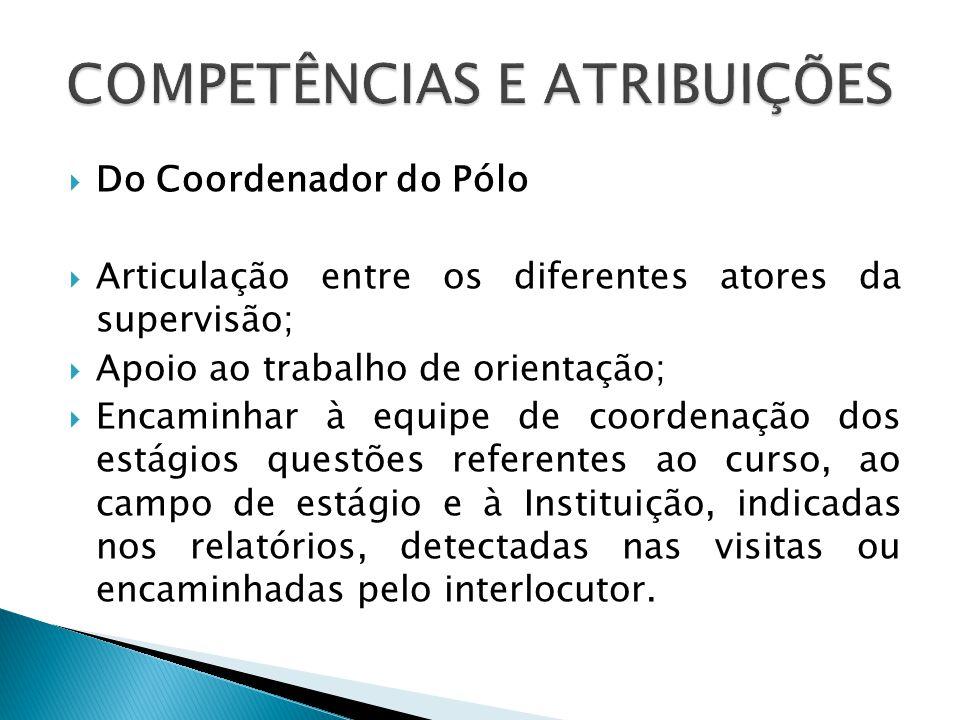Do Coordenador do Pólo Articulação entre os diferentes atores da supervisão; Apoio ao trabalho de orientação; Encaminhar à equipe de coordenação dos e