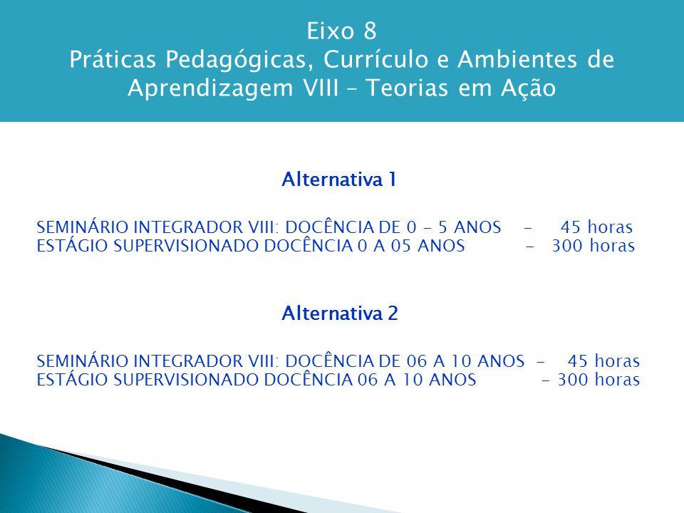 Eixo 8 Práticas Pedagógicas, Currículo e Ambientes de Aprendizagem VIII – Teorias em Ação Alternativa 1 SEMINÁRIO INTEGRADOR VIII: DOCÊNCIA DE 0 - 5 ANOS - 45 horas ESTÁGIO SUPERVISIONADO DOCÊNCIA 0 A 05 ANOS - 300 horas Alternativa 2 SEMINÁRIO INTEGRADOR VIII: DOCÊNCIA DE 06 A 10 ANOS - 45 horas ESTÁGIO SUPERVISIONADO DOCÊNCIA 06 A 10 ANOS - 300 horas