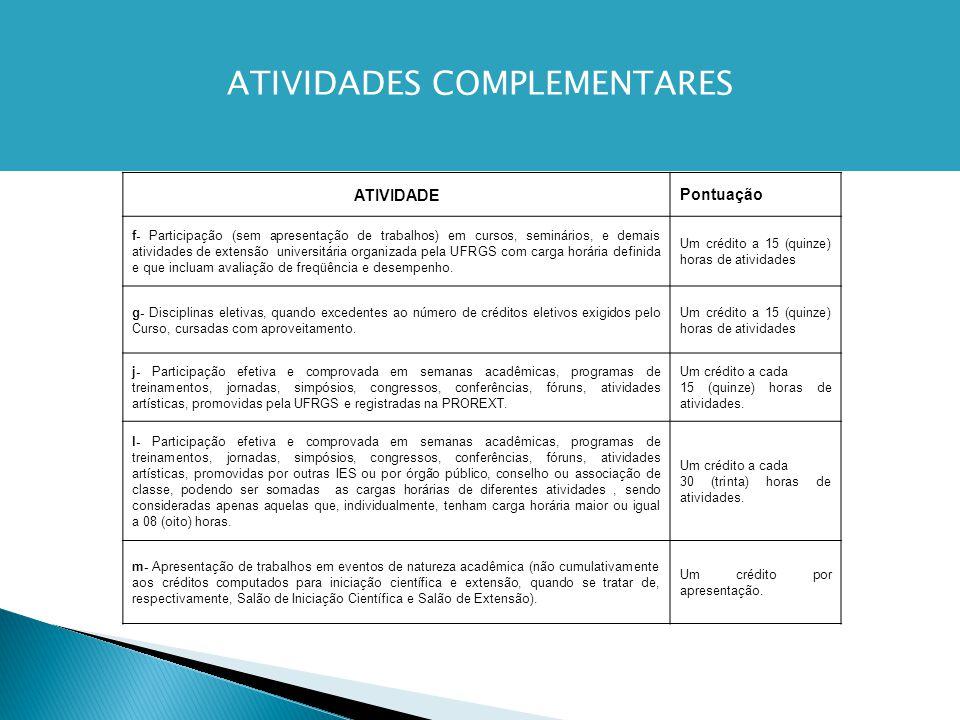 ATIVIDADEPontuação f- Participação (sem apresentação de trabalhos) em cursos, seminários, e demais atividades de extensão universitária organizada pela UFRGS com carga horária definida e que incluam avaliação de freqüência e desempenho.