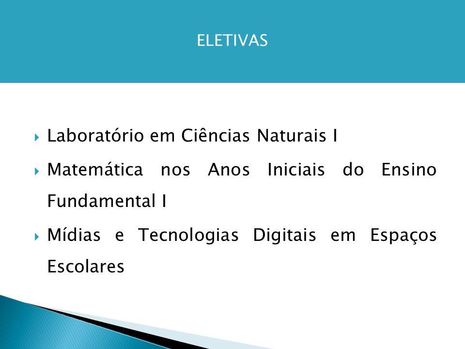 ELETIVAS Laboratório em Ciências Naturais I Matemática nos Anos Iniciais do Ensino Fundamental I Mídias e Tecnologias Digitais em Espaços Escolares