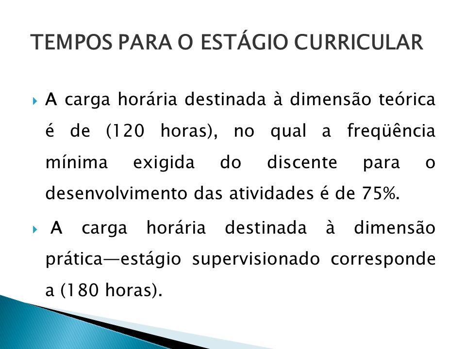 A carga horária destinada à dimensão teórica é de (120 horas), no qual a freqüência mínima exigida do discente para o desenvolvimento das atividades é