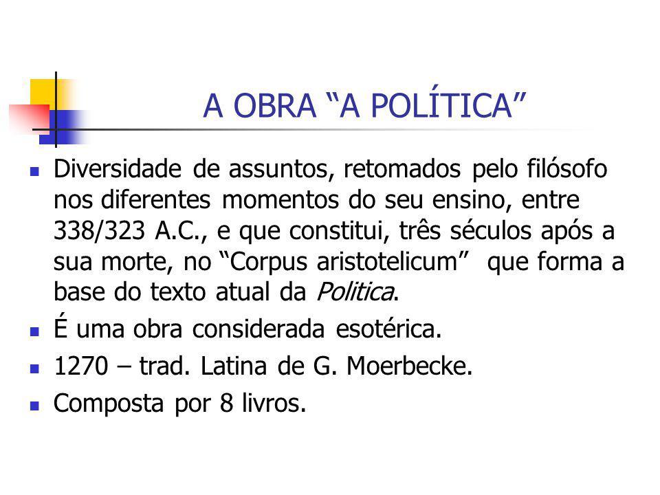 O CARÁTER PRESCRITIVO E DESCRITIVO DA POLÍTICA PROCEDIMENTOINTENÇÃO DESCRITIVAINTENÇÃO PRESCRITIVA ESPECULATIVOLIVROS I E IIILIVROS II,VII E VIII POSITIVOLIVRO IVLIVROS V E VI