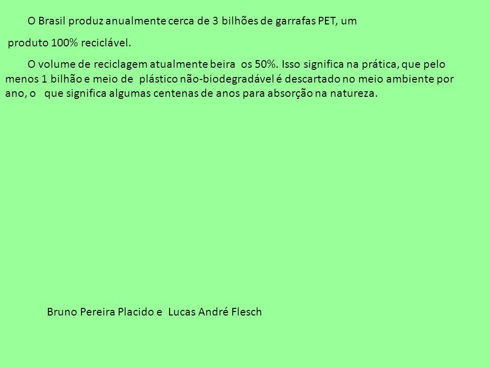 O Brasil produz anualmente cerca de 3 bilhões de garrafas PET, um produto 100% reciclável. O volume de reciclagem atualmente beira os 50%. Isso signif