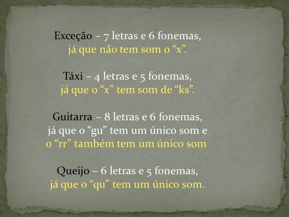 Exceção – 7 letras e 6 fonemas, já que não tem som o x. Táxi – 4 letras e 5 fonemas, já que o x tem som de ks. Guitarra – 8 letras e 6 fonemas, já que