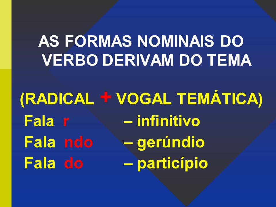 AS FORMAS NOMINAIS DO VERBO DERIVAM DO TEMA (RADICAL + VOGAL TEMÁTICA) Fala r – infinitivo Fala ndo – gerúndio Fala do – particípio