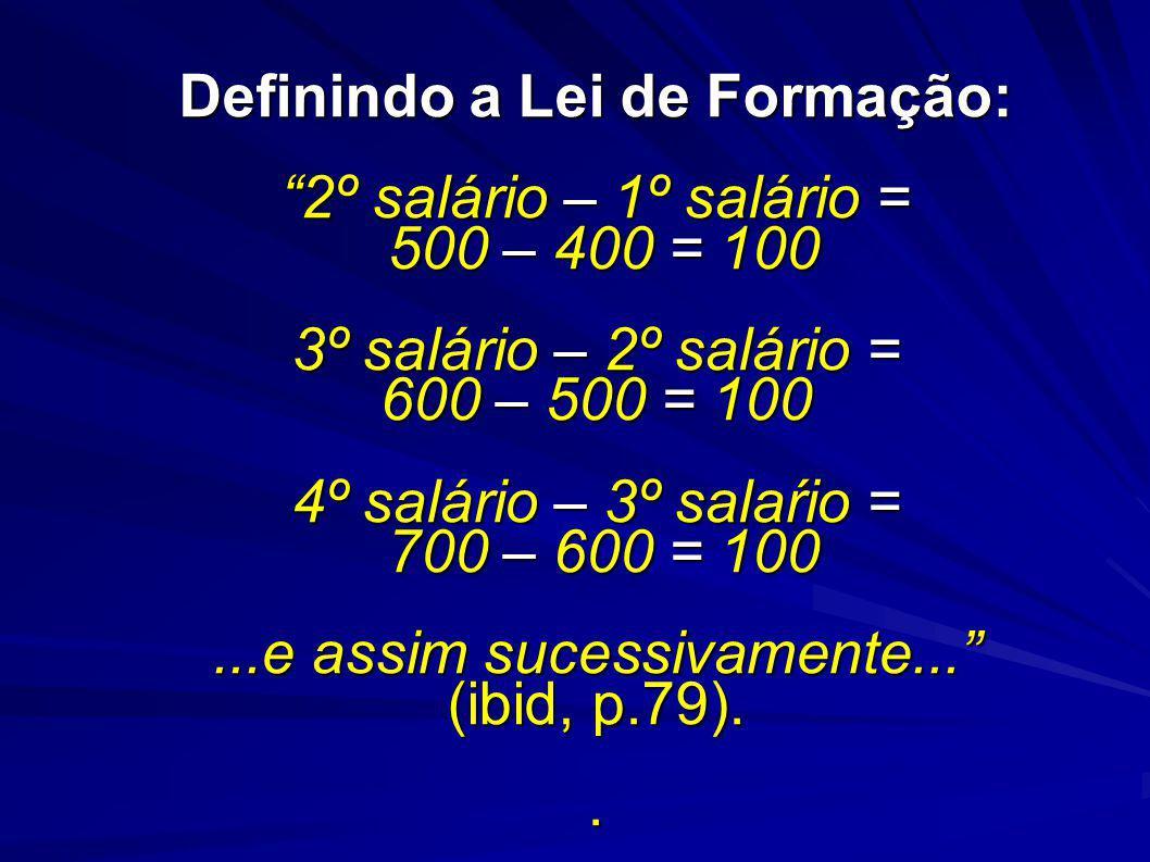 Definindo a Lei de Formação: 2º salário – 1º salário = 500 – 400 = 100 3º salário – 2º salário = 600 – 500 = 100 4º salário – 3º salaŕio = 700 – 600 = 100...e assim sucessivamente...
