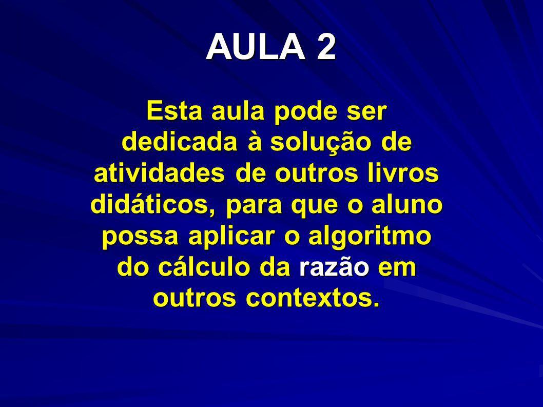 AULA 2 Esta aula pode ser dedicada à solução de atividades de outros livros didáticos, para que o aluno possa aplicar o algoritmo do cálculo da razão em outros contextos.