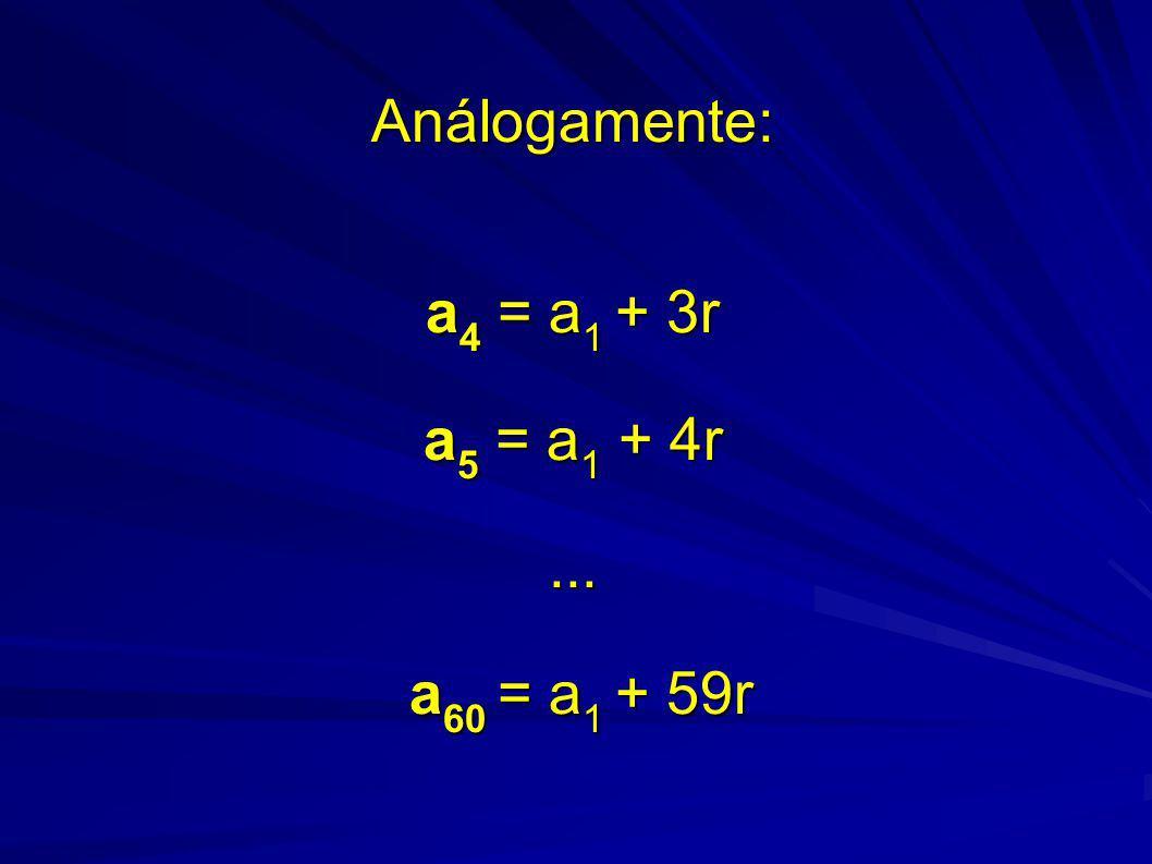 Análogamente: a 4 = a 1 + 3r a 5 = a 1 + 4r... a 60 = a 1 + 59r