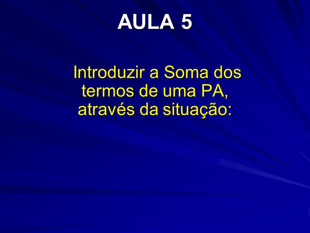 AULA 5 Introduzir a Soma dos termos de uma PA, através da situação: Introduzir a Soma dos termos de uma PA, através da situação: