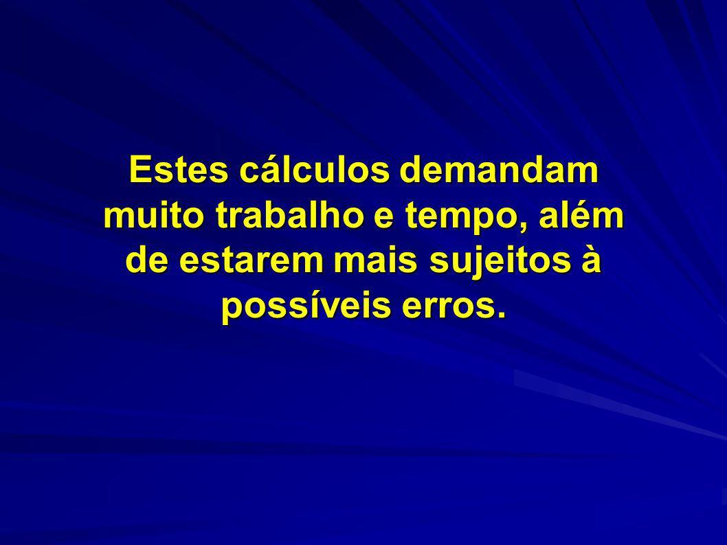 Estes cálculos demandam muito trabalho e tempo, além de estarem mais sujeitos à possíveis erros.
