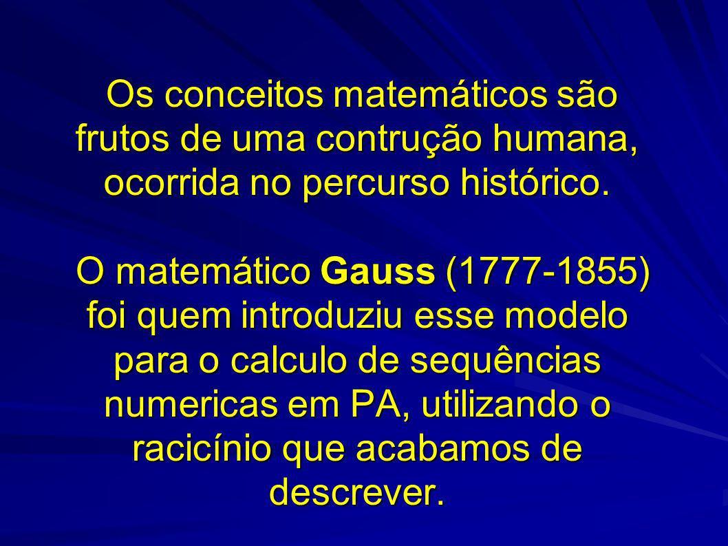 Os conceitos matemáticos são frutos de uma contrução humana, ocorrida no percurso histórico. O matemático Gauss (1777-1855) foi quem introduziu esse m