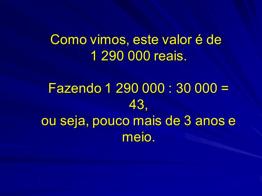 Como vimos, este valor é de 1 290 000 reais. Fazendo 1 290 000 : 30 000 = 43, ou seja, pouco mais de 3 anos e meio.