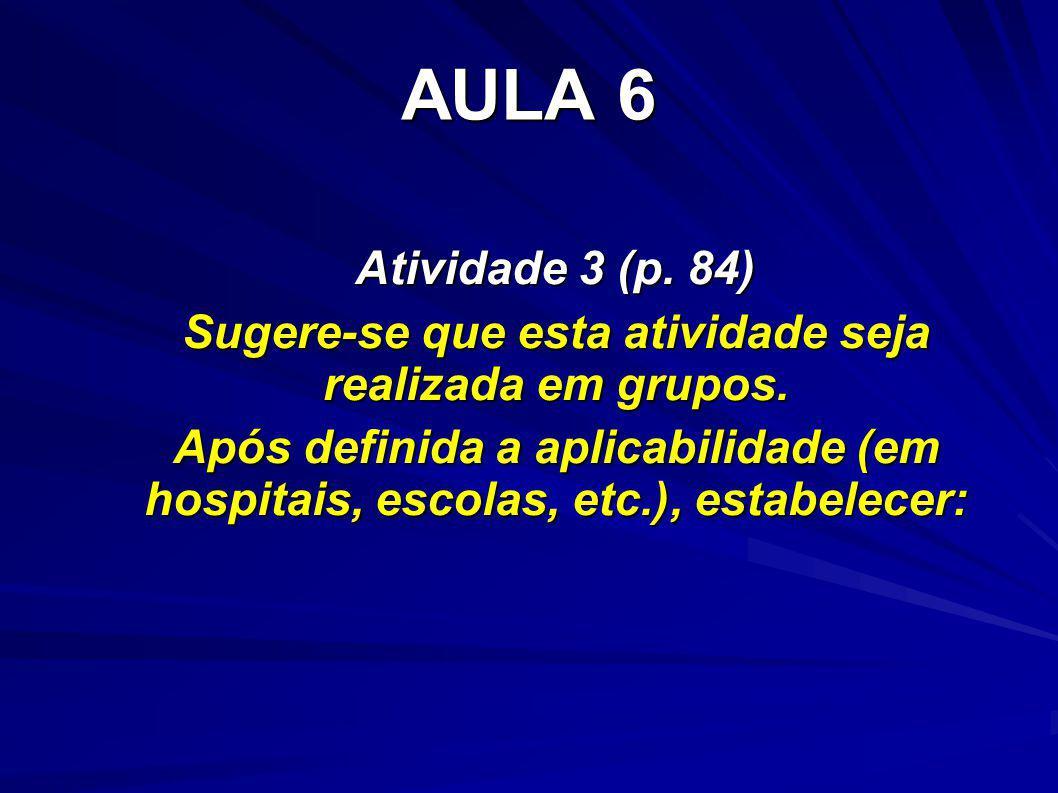 AULA 6 Atividade 3 (p. 84) Sugere-se que esta atividade seja realizada em grupos. Após definida a aplicabilidade (em hospitais, escolas, etc.), estabe