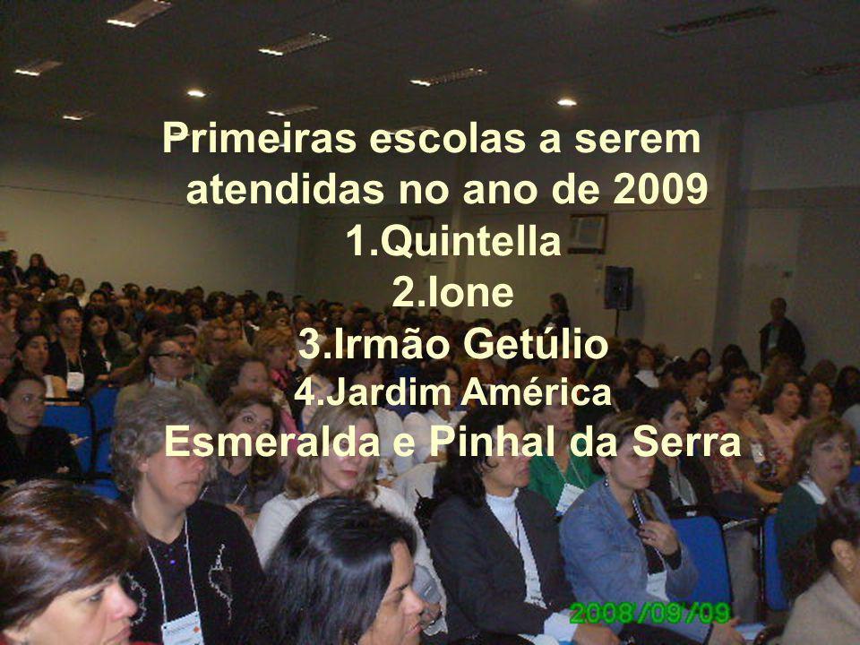 Primeiras escolas a serem atendidas no ano de 2009 1.Quintella 2.Ione 3.Irmão Getúlio 4.Jardim América Esmeralda e Pinhal da Serra