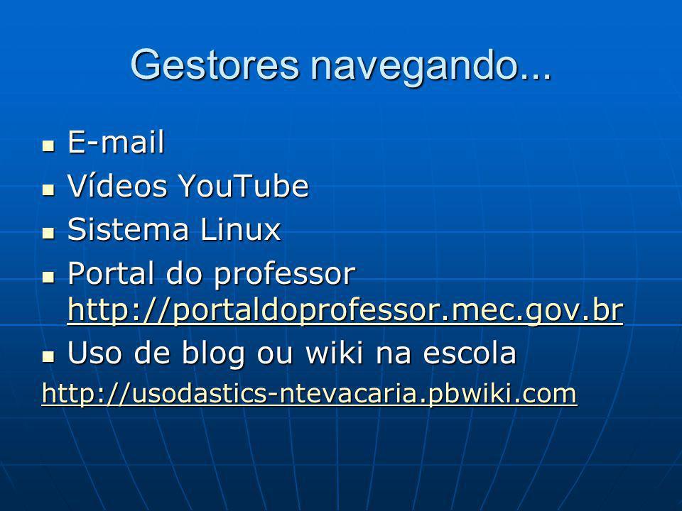 Gestores navegando... E-mail E-mail Vídeos YouTube Vídeos YouTube Sistema Linux Sistema Linux Portal do professor http://portaldoprofessor.mec.gov.br