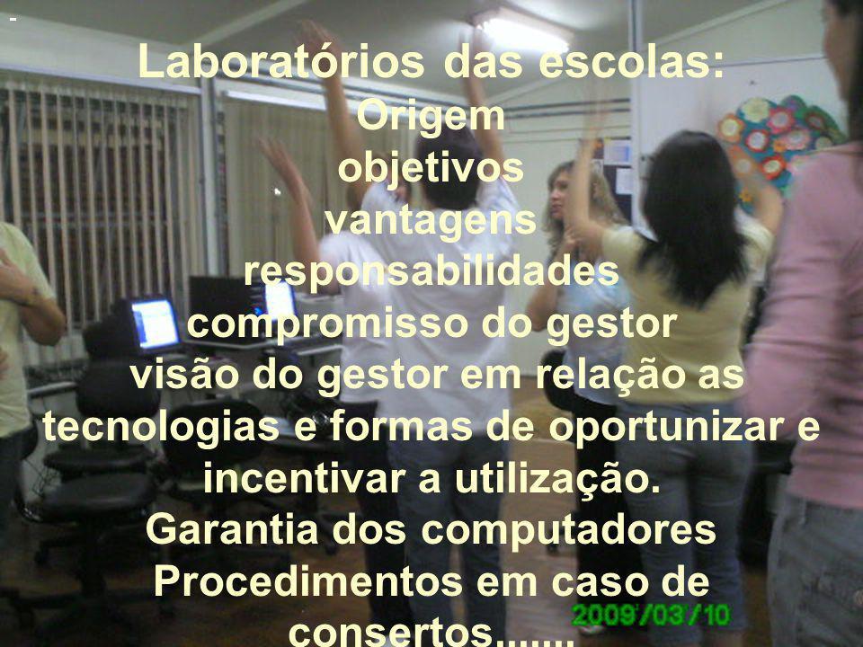 - Laboratórios das escolas: Origem objetivos vantagens responsabilidades compromisso do gestor visão do gestor em relação as tecnologias e formas de oportunizar e incentivar a utilização.