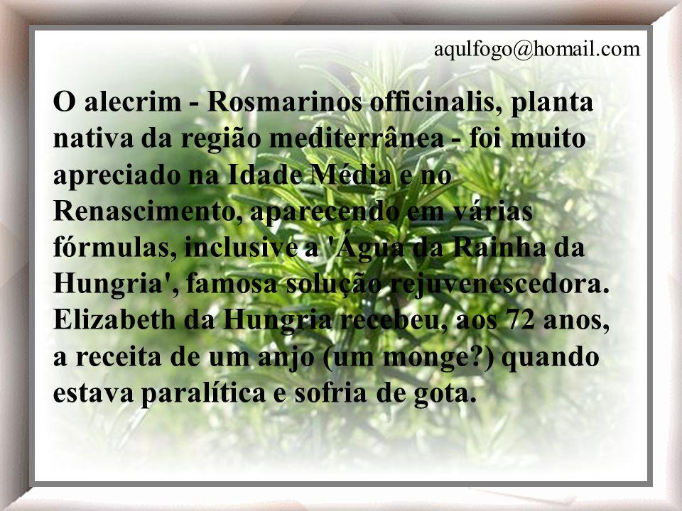O alecrim - Rosmarinos officinalis, planta nativa da região mediterrânea - foi muito apreciado na Idade Média e no Renascimento, aparecendo em várias fórmulas, inclusive a Água da Rainha da Hungria , famosa solução rejuvenescedora.