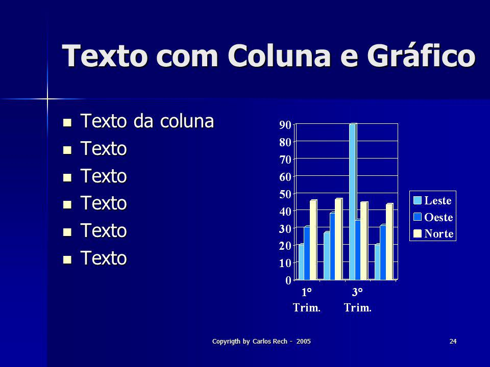 Copyrigth by Carlos Rech - 200524 Texto com Coluna e Gráfico Texto da coluna Texto da coluna Texto Texto