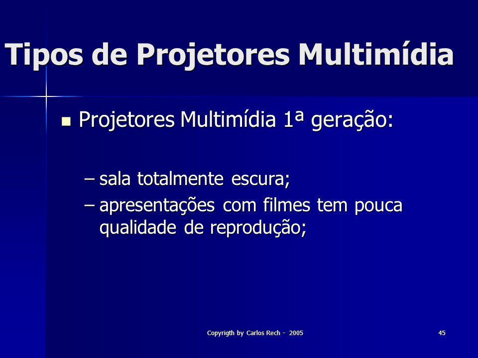 Copyrigth by Carlos Rech - 200545 Tipos de Projetores Multimídia Projetores Multimídia 1ª geração: Projetores Multimídia 1ª geração: –sala totalmente