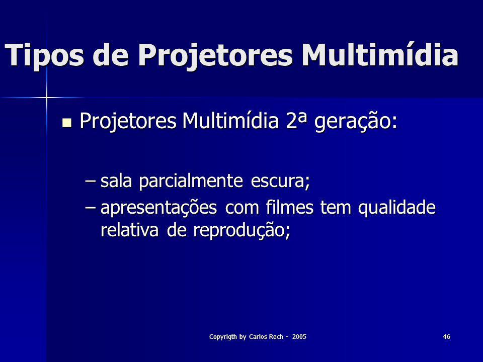 Copyrigth by Carlos Rech - 200546 Tipos de Projetores Multimídia Projetores Multimídia 2ª geração: Projetores Multimídia 2ª geração: –sala parcialment